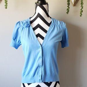 LOFT Blue Short Sleeve Cardigan